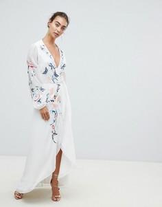 Платье макси с запахом и цветочной вышивкой Hope & Ivy - Белый