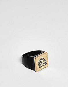 Матовое черное кольцо-печатка с черепом Icon Brand - Черный