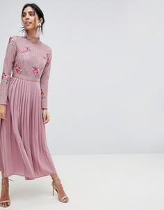 Платье макси с кружевным топом и плиссированной юбкой Little Mistress - Розовый