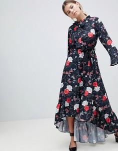 Платье миди с цветочным принтом Uttam Boutique - Черный