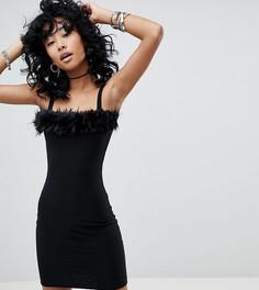 Платье с квадратным вырезом и отделкой из искусственного меха Rokoko - Черный