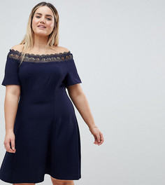 Короткое приталенное платье с открытыми плечами и кружевной отделкой Lovedrobe - Темно-синий