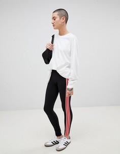 Черно-розовые леггинсы с сетчатыми вставками adidas Originals Colorado - Черный