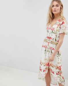 Платье миди на пуговицах с цветочным принтом Hope & Ivy - Мульти