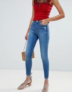 Выбеленные джинсы скинни Miss Selfridge Lizzie - Синий