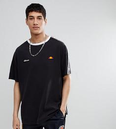 Черная oversize‑футболка с отделкой кантом ellesse - Черный