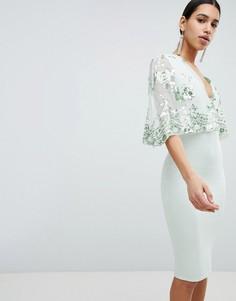Платье миди с кейпом и отделкой пайетками Club L - Зеленый