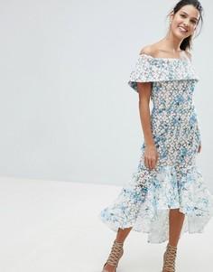 Платье миди с вышивкой и асимметричным подолом Bronx and Banco - Синий