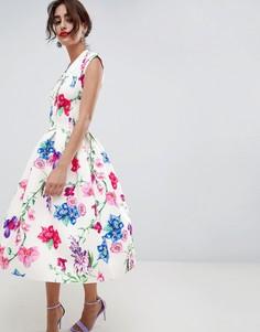 Платье для выпускного с глубоким вырезом и цветочным принтом ASOS DESIGN - Мульти
