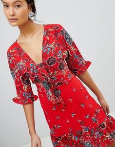 Чайное платье с цветочным принтом и завязкой Parisian - Красный