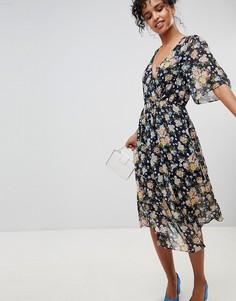 Платье миди с запахом и цветочным принтом Pepe Jeans Magaly - Темно-синий