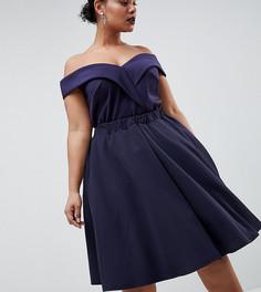 Короткое приталенное платье для выпускного Club L Plus - Темно-синий