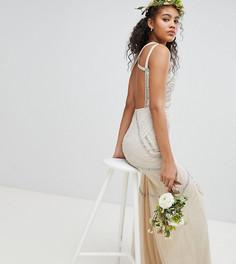 Платье макси со сплошной декоративной отделкой Amelia Rose Tall - Розовый