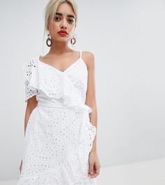 Асимметричное платье мини с запахом River Island Petite - Белый