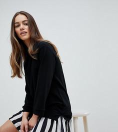 Платье-свитшот 2 в 1 с подолом в полоску ASOS DESIGN Petite - Черный