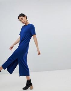 Платье-футболка миди с разрезом Monki - Темно-синий