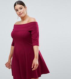 Короткое приталенное платье с рукавами длиной 3/4 ASOS DESIGN Curve - Красный