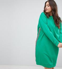 Трикотажное платье миди с полосой по бокам ASOS DESIGN Curve - Зеленый