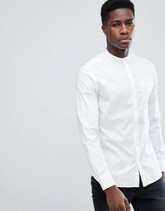 Премиум-рубашка узкого кроя с добавлением льна и воротником на пуговице Jack & Jones - Белый