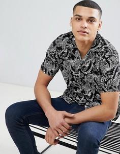 Рубашка с короткими рукавами и принтом пейсли Jack & Jones Premium - Черный