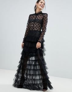 Платье макси с сетчатым топом в горошек и юбкой из тюля Bronx and Banco - Черный