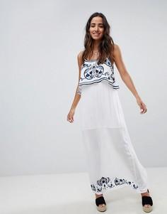 Платье макси с вышивкой Raga - Синий