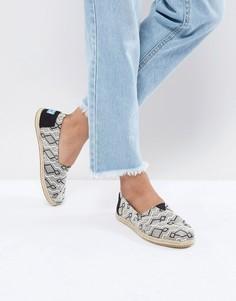 Жаккардовые туфли с веревкой на подошве TOMS - Черный