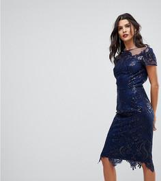 Платье-футляр миди с короткими рукавами и вырезом под горло Chi Chi London Tall - Темно-синий