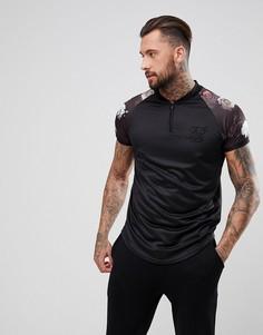 Черная обтягивающая футболка с цветочным принтом на рукавах SikSilk - Черный