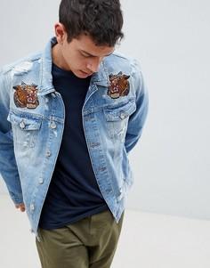 Джинсовая куртка с вышивкой Jack & Jones Intelligence - Синий