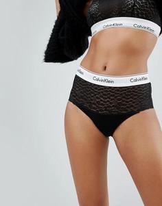 Кружевные хлопковые трусы-бикини с завышенной талией Calvin Klein - Черный