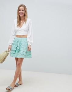 Короткая расклешенная юбка с вышивкой ASOS DESIGN - Темно-синий