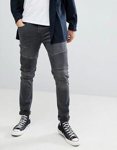 Байкерские джинсы с рваной отделкой Blend Jet - Черный