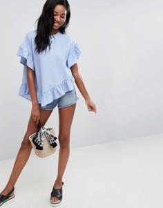 Льняная футболка с оборкой на нижней кромке ASOS DESIGN - Синий