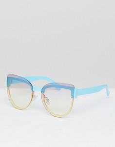 Синие солнцезащитные очки кошачий глаз без оправы Jeepers Peepers - Синий