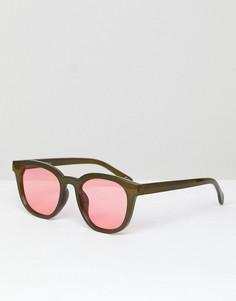 Зеленые круглые солнцезащитные очки Jeepers Peepers - Черный