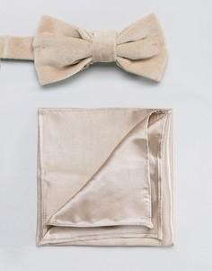 Бархатный галстук-бабочка и атласный платок для пиджака Devils Advocate - Коричневый