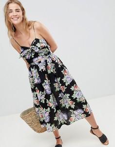 Летнее платье миди с цветочным принтом ASOS DESIGN - Мульти