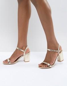 Золотистые босоножки на блочном каблуке Glamorous - Золотой