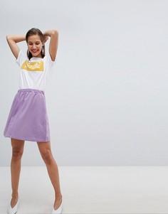 Короткая расклешенная юбка Pieces - Фиолетовый