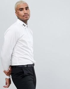 Узкая рубашка с вышивкой Devils Advocate - Белый