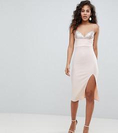 Облегающее платье миди с пайетками ASOS DESIGN Tall - Розовый