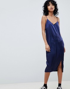 Атласное платье-комбинация миди Pieces Eva - Темно-синий