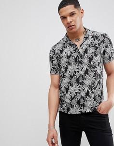 Черная рубашка с короткими рукавами и принтом листьев Religion - Черный