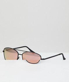 Черные квадратные солнцезащитные очки с золотисто-розовыми стеклами Hawkers LAX - Черный