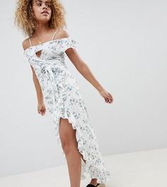 Юбка макси с оборкой, разрезом и винтажным цветочным принтом Glamorous Petite - Белый
