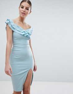 Платье-футляр миди с вырезом сердечком и разрезом до бедра Vesper - Синий