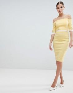 Платье-футляр со спущенными плечами и контрастной вставкой на талии Vesper - Желтый