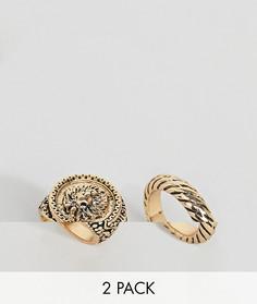 2 кольца (с перекрутом/со львом) ASOS DESIGN - Золотой