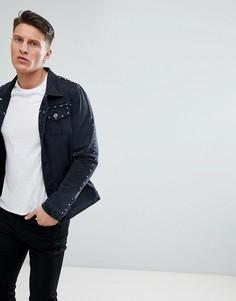 Джинсовая куртка с отделкой заклепками Liquor N Poker - Черный